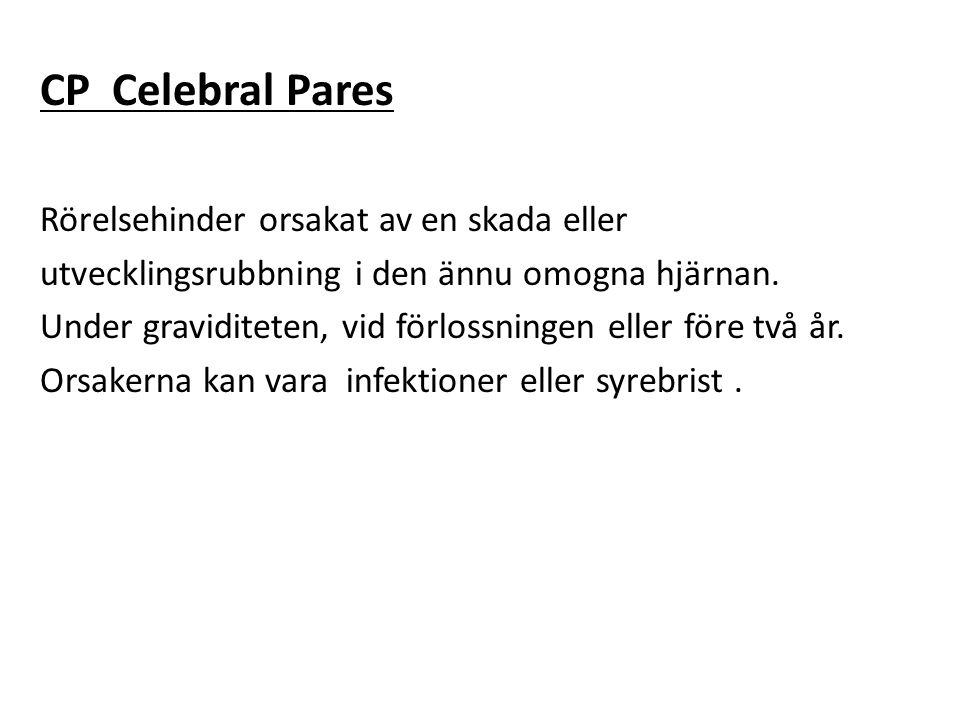 CP Celebral Pares Rörelsehinder orsakat av en skada eller