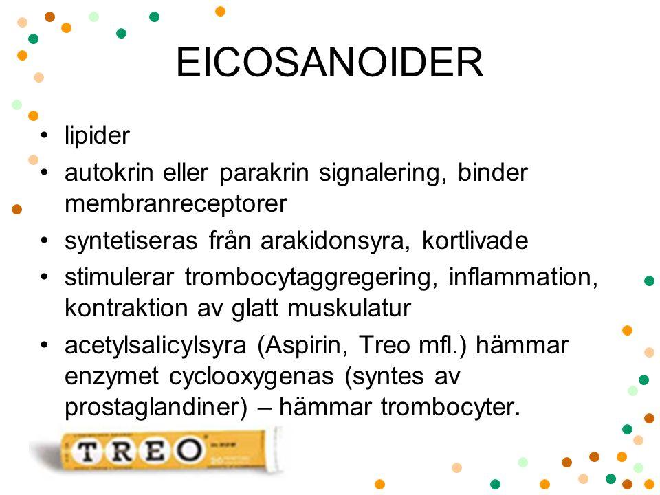 EICOSANOIDER lipider. autokrin eller parakrin signalering, binder membranreceptorer. syntetiseras från arakidonsyra, kortlivade.