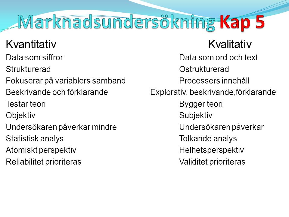 Marknadsundersökning Kap 5