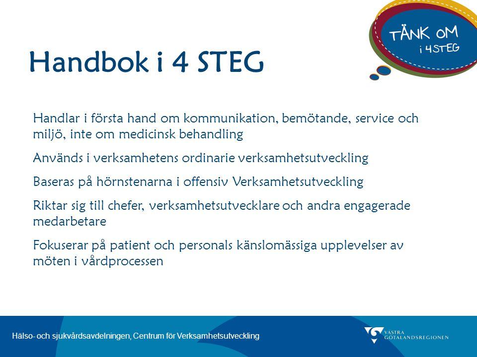 Handbok i 4 STEG Handlar i första hand om kommunikation, bemötande, service och miljö, inte om medicinsk behandling.