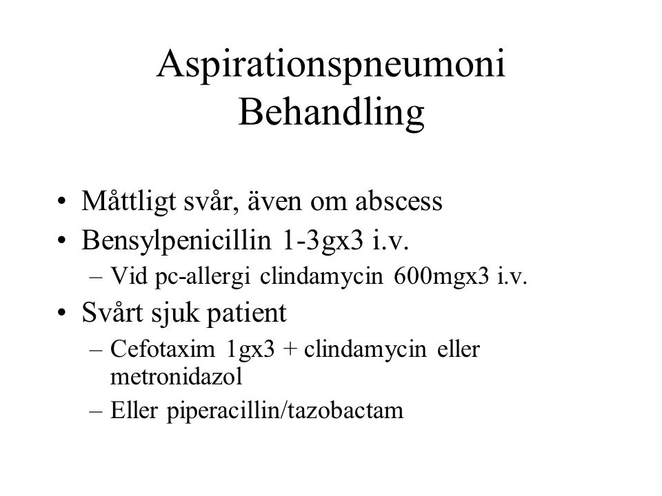 Aspirationspneumoni Behandling