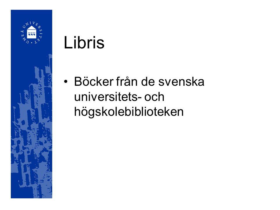 Libris Böcker från de svenska universitets- och högskolebiblioteken