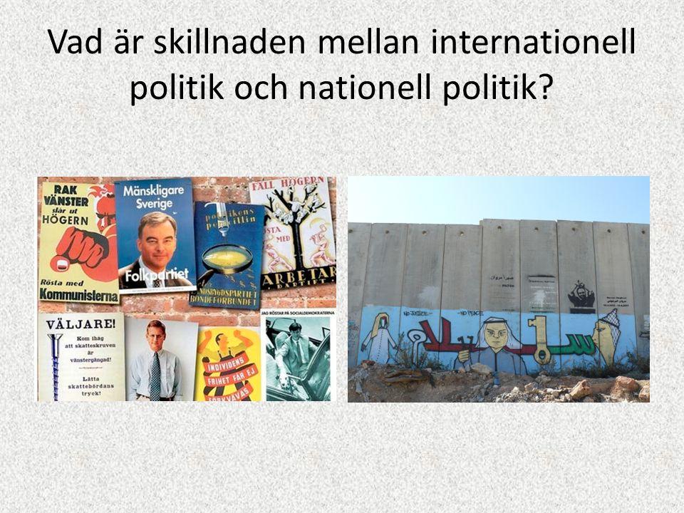Vad är skillnaden mellan internationell politik och nationell politik