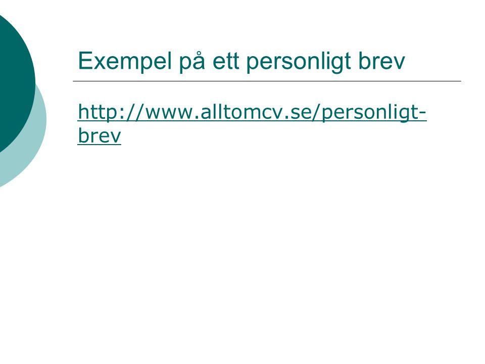 Exempel på ett personligt brev