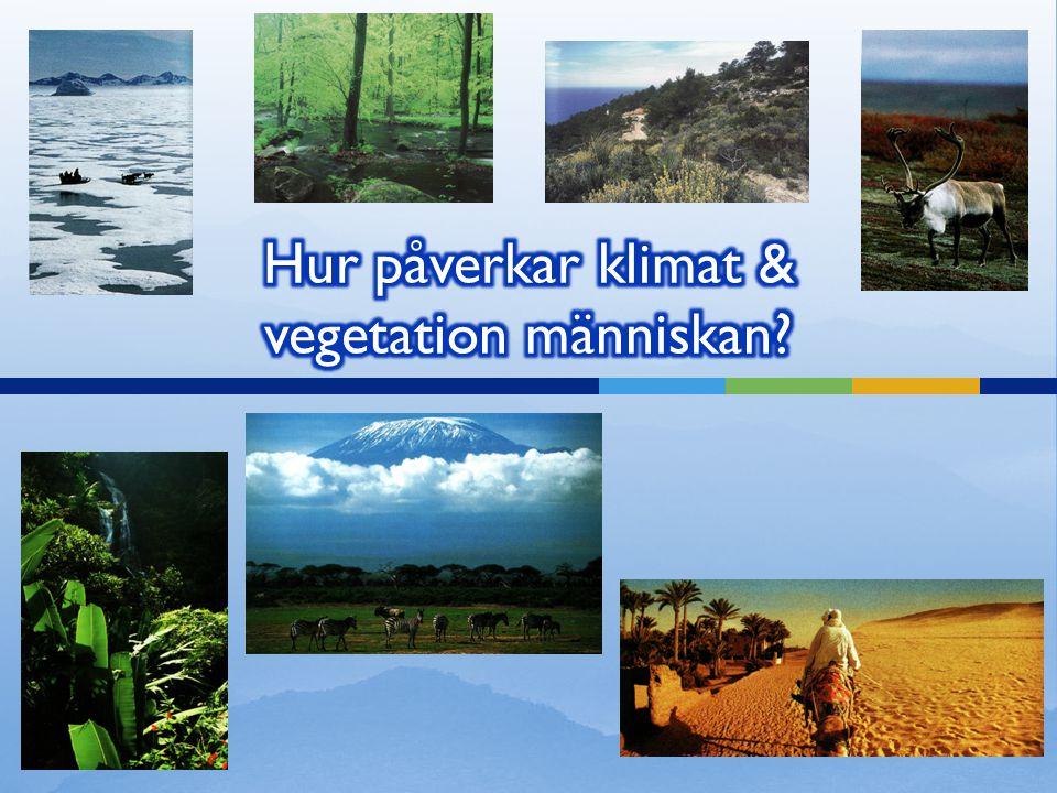 Hur påverkar klimat & vegetation människan