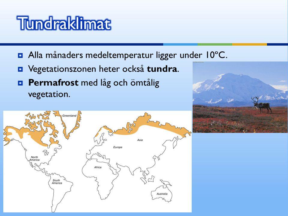 Tundraklimat Alla månaders medeltemperatur ligger under 10ºC.