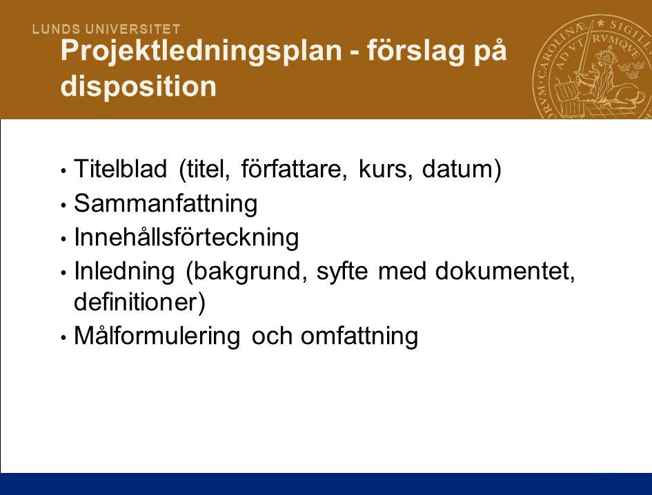 Projektledningsplan - förslag på disposition