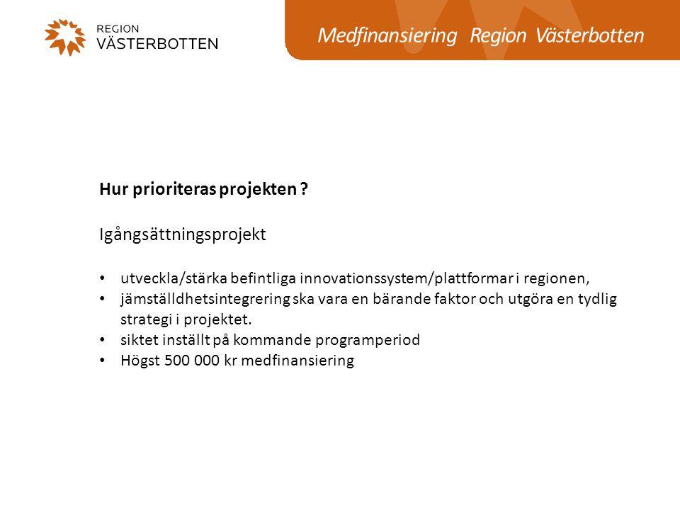 Medfinansiering Region Västerbotten
