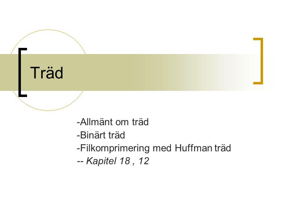Träd -Allmänt om träd -Binärt träd -Filkomprimering med Huffman träd