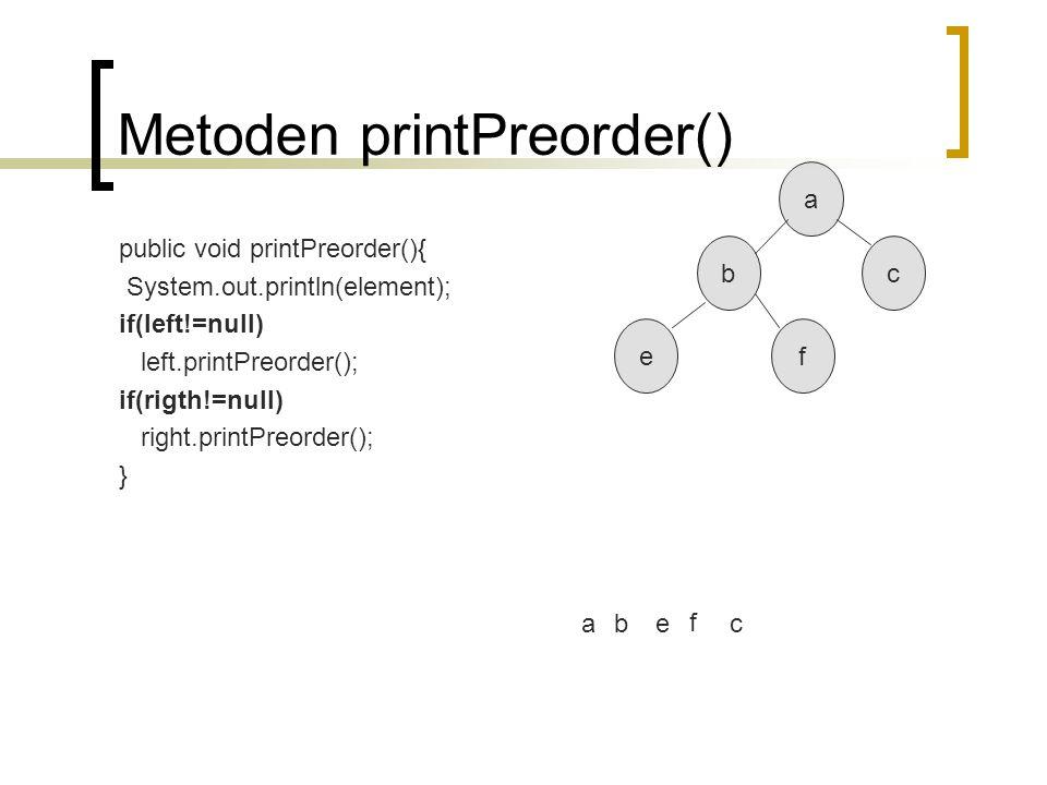 Metoden printPreorder()