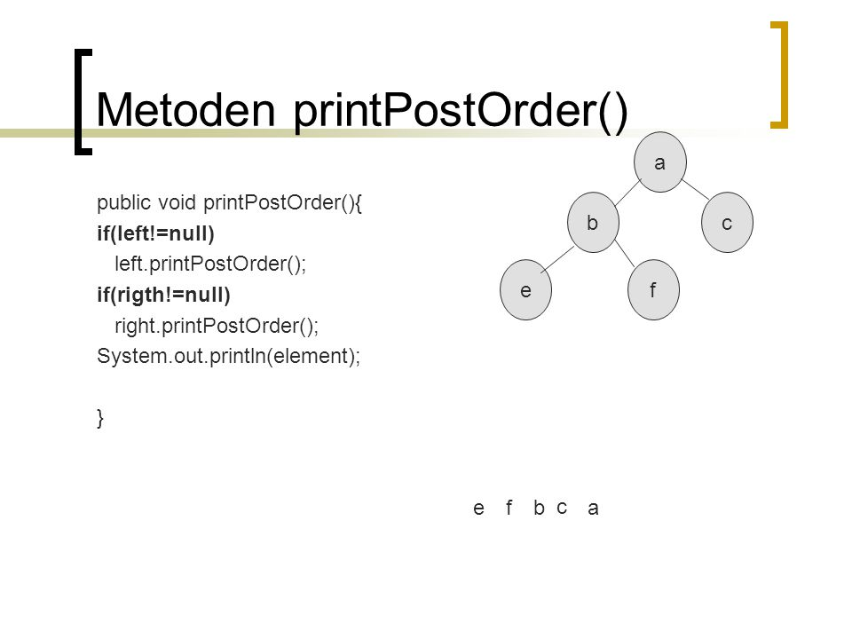 Metoden printPostOrder()