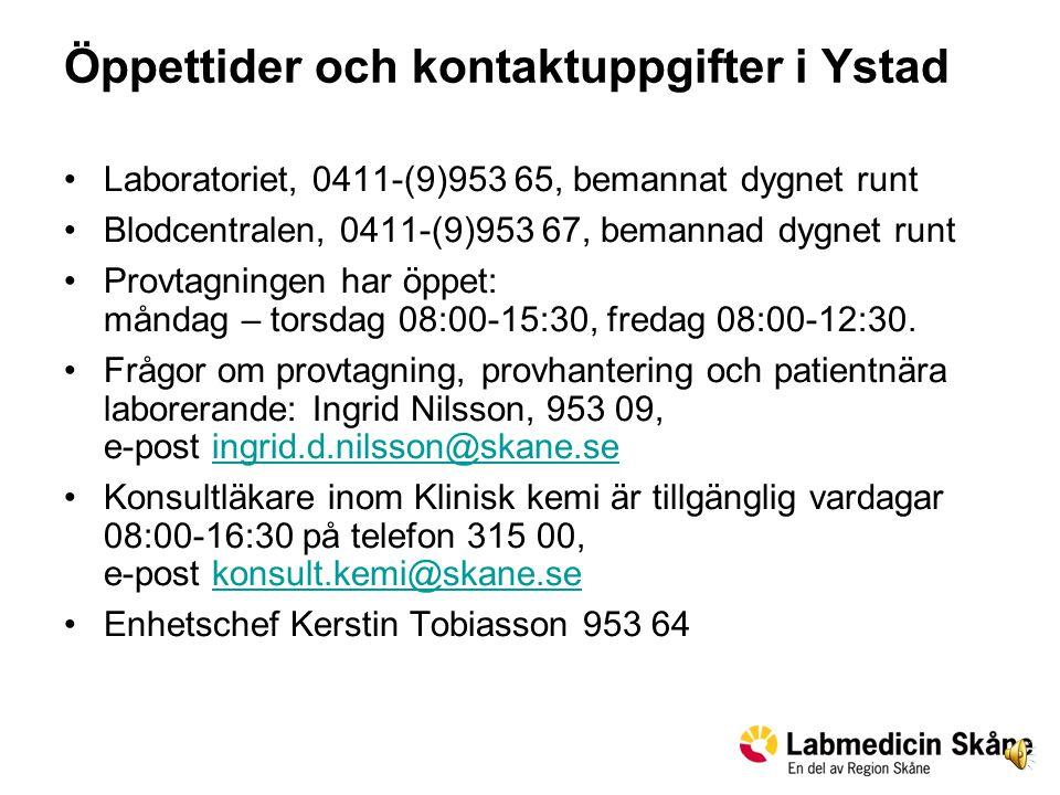 Öppettider och kontaktuppgifter i Ystad
