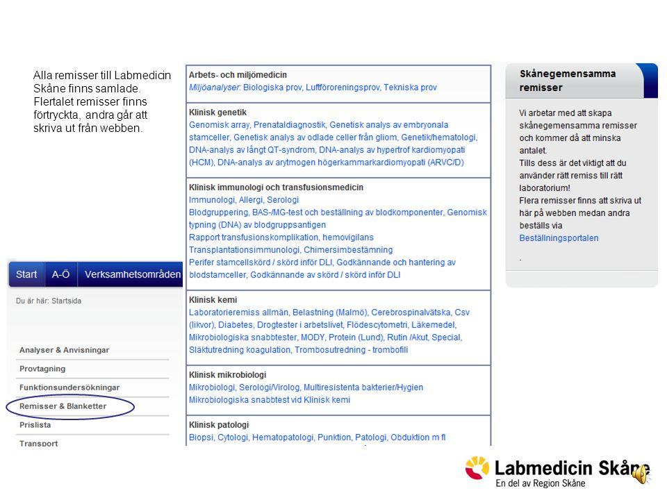 Alla remisser till Labmedicin Skåne finns samlade