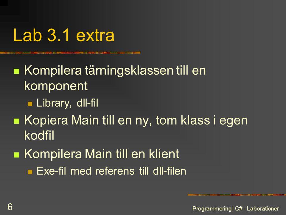 Lab 3.1 extra Kompilera tärningsklassen till en komponent