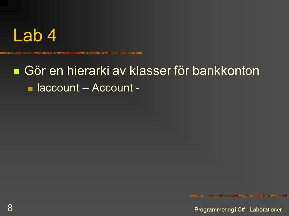 Lab 4 Gör en hierarki av klasser för bankkonton Iaccount – Account -