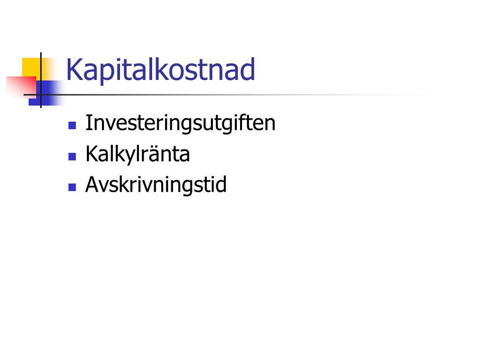 Kapitalkostnad Investeringsutgiften Kalkylränta Avskrivningstid