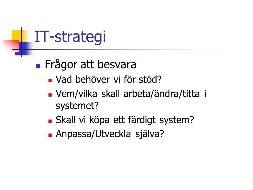 IT-strategi Frågor att besvara Vad behöver vi för stöd