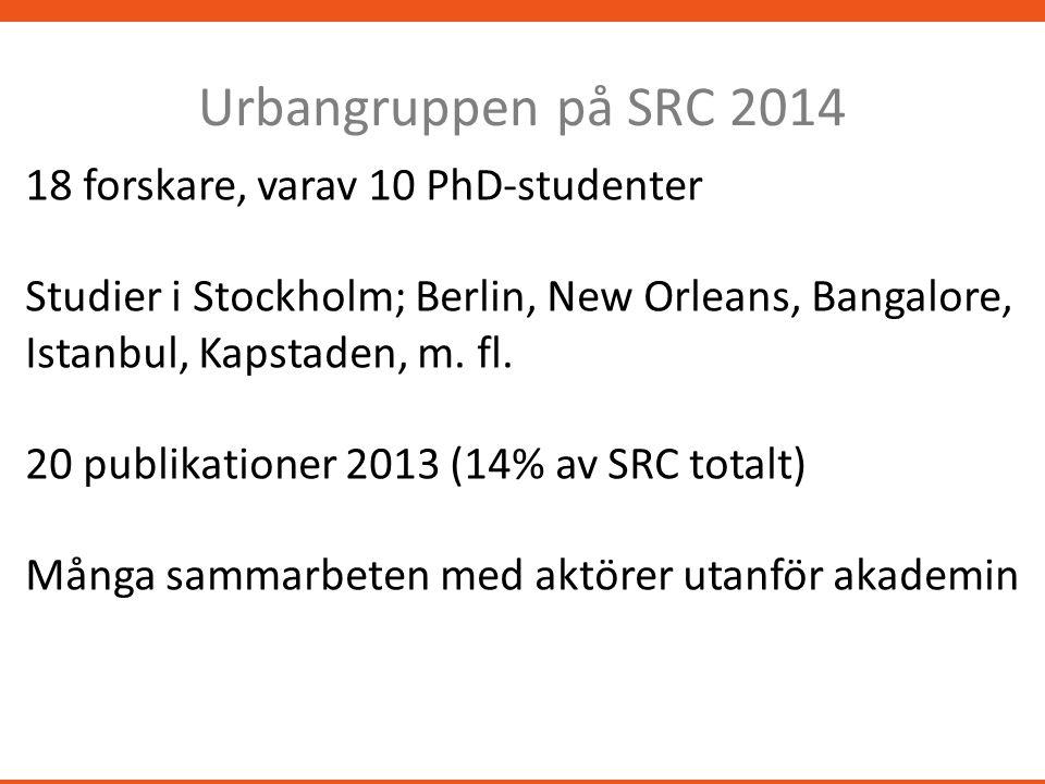 Urbangruppen på SRC 2014 18 forskare, varav 10 PhD-studenter