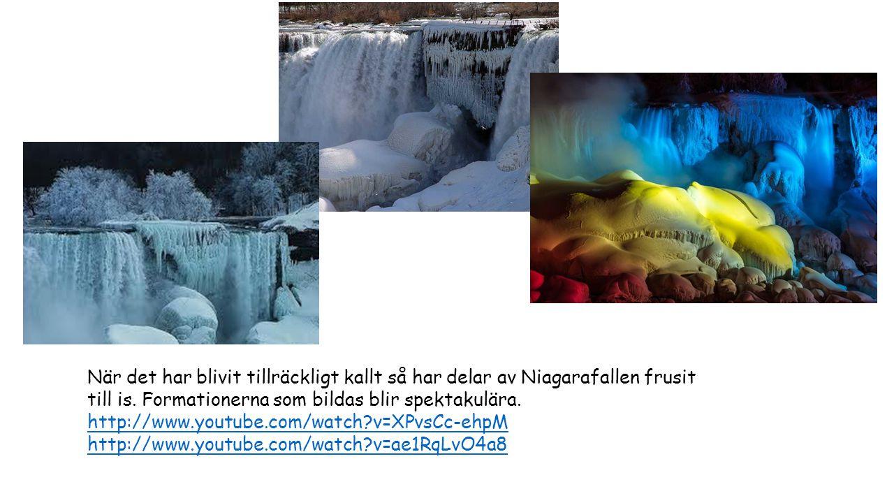 När det har blivit tillräckligt kallt så har delar av Niagarafallen frusit till is. Formationerna som bildas blir spektakulära. http://www.youtube.com/watch v=XPvsCc-ehpM