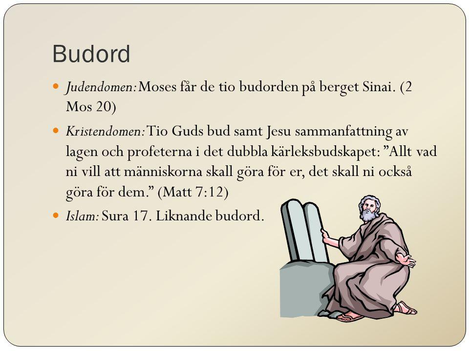 Budord Judendomen: Moses får de tio budorden på berget Sinai. (2 Mos 20)