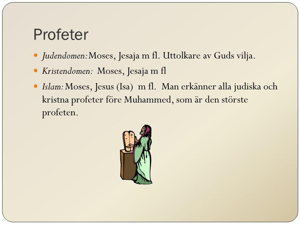 Profeter Judendomen: Moses, Jesaja m fl. Uttolkare av Guds vilja.