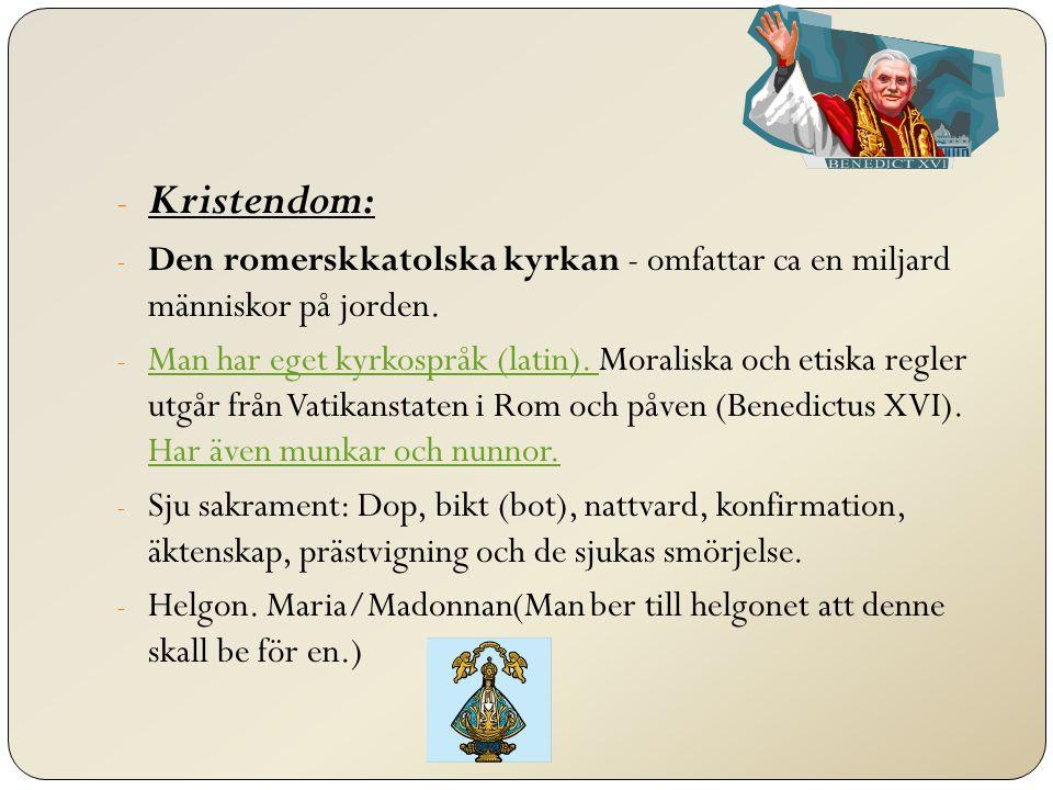 Kristendom: Den romerskkatolska kyrkan - omfattar ca en miljard människor på jorden.