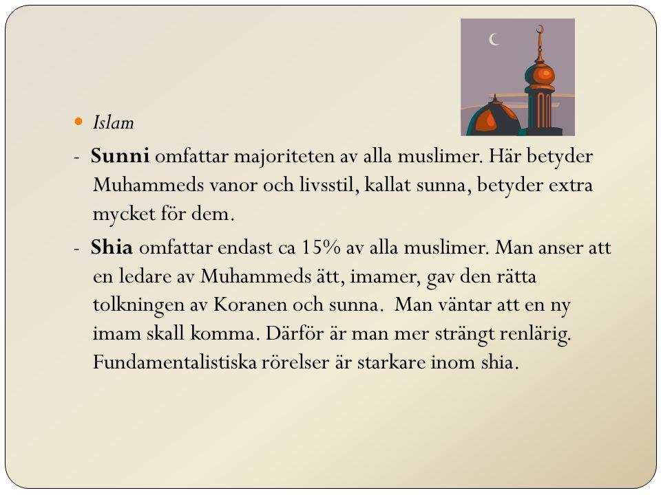Islam - Sunni omfattar majoriteten av alla muslimer. Här betyder Muhammeds vanor och livsstil, kallat sunna, betyder extra mycket för dem.