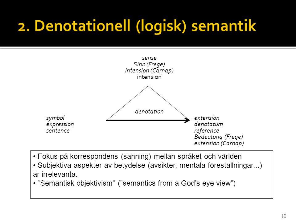 2. Denotationell (logisk) semantik
