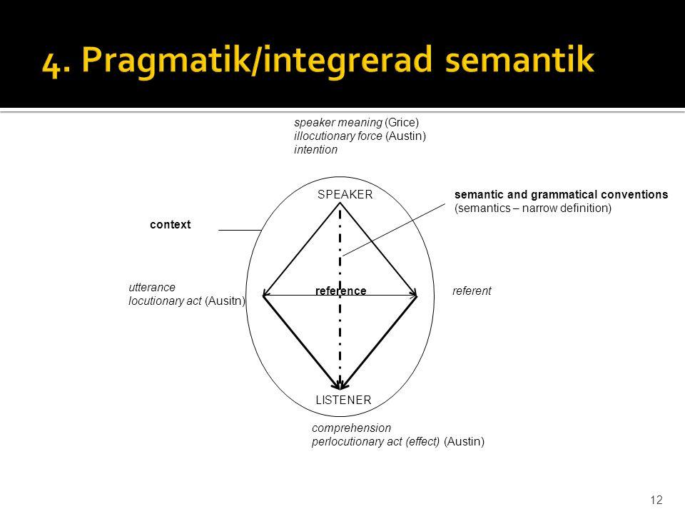 4. Pragmatik/integrerad semantik