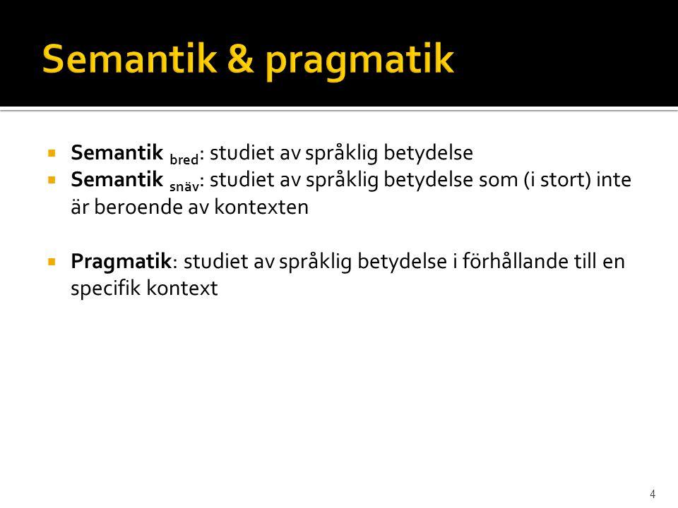 Semantik & pragmatik Semantik bred: studiet av språklig betydelse