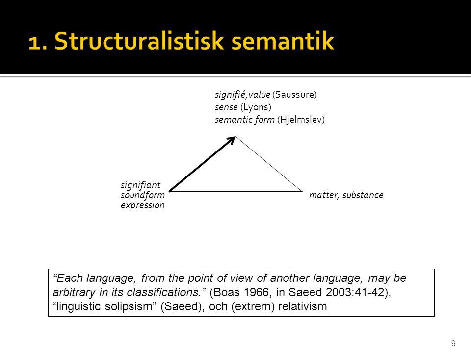 1. Structuralistisk semantik