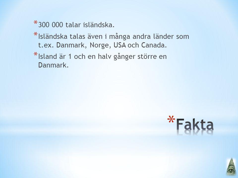 300 000 talar isländska. Isländska talas även i många andra länder som t.ex. Danmark, Norge, USA och Canada.