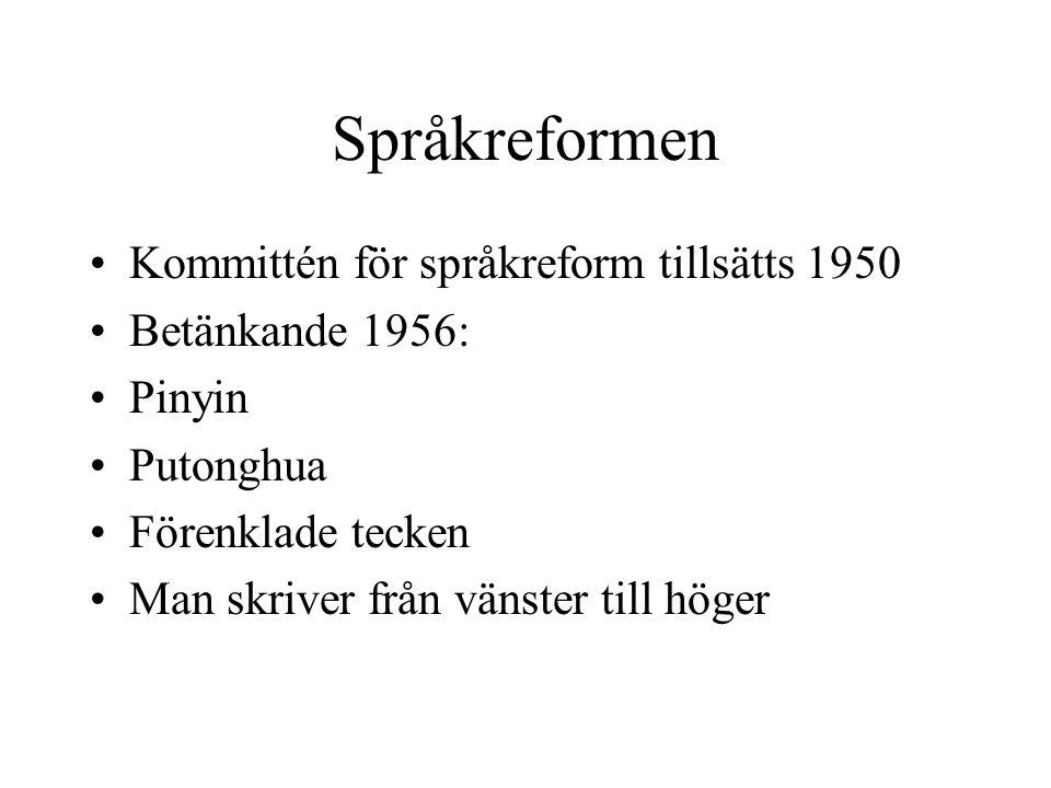 Språkreformen Kommittén för språkreform tillsätts 1950