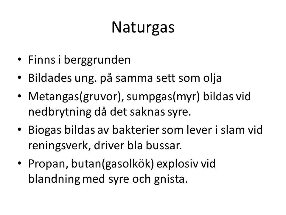 Naturgas Finns i berggrunden Bildades ung. på samma sett som olja
