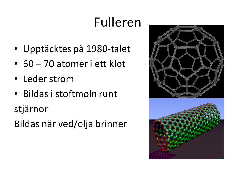 Fulleren Upptäcktes på 1980-talet 60 – 70 atomer i ett klot