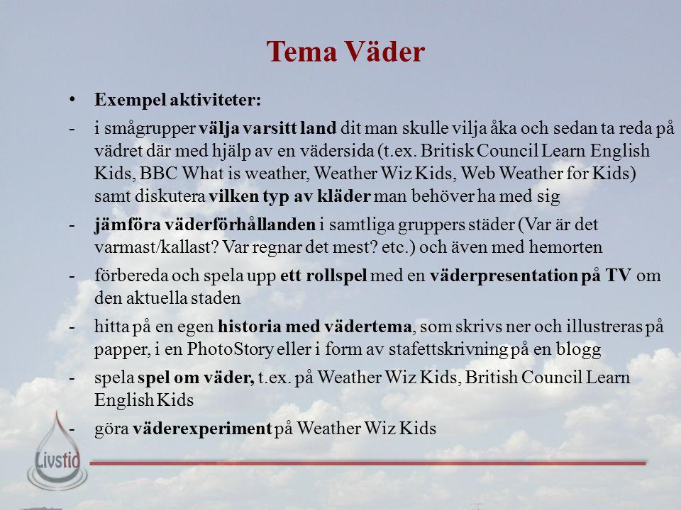 Tema Väder Exempel aktiviteter: