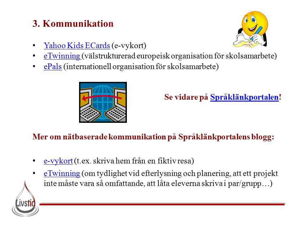 3. Kommunikation Yahoo Kids ECards (e-vykort)
