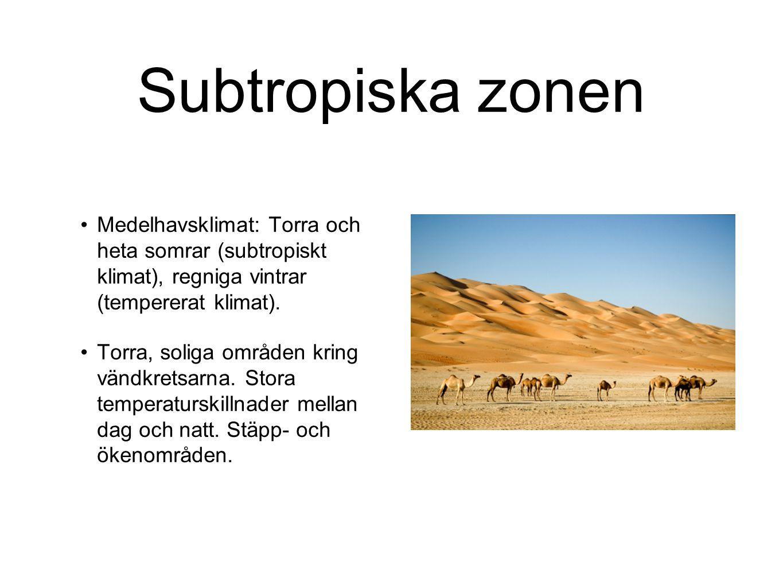 Subtropiska zonen Medelhavsklimat: Torra och heta somrar (subtropiskt klimat), regniga vintrar (tempererat klimat).