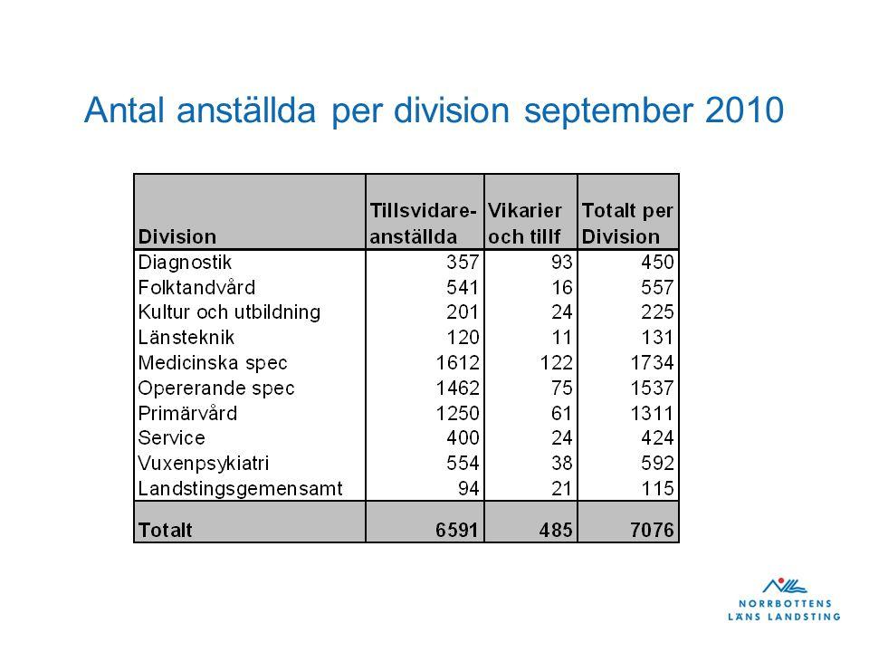 Antal anställda per division september 2010