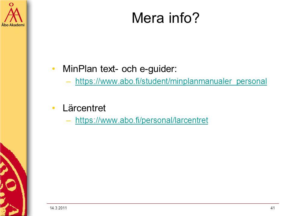 Mera info MinPlan text- och e-guider: Lärcentret