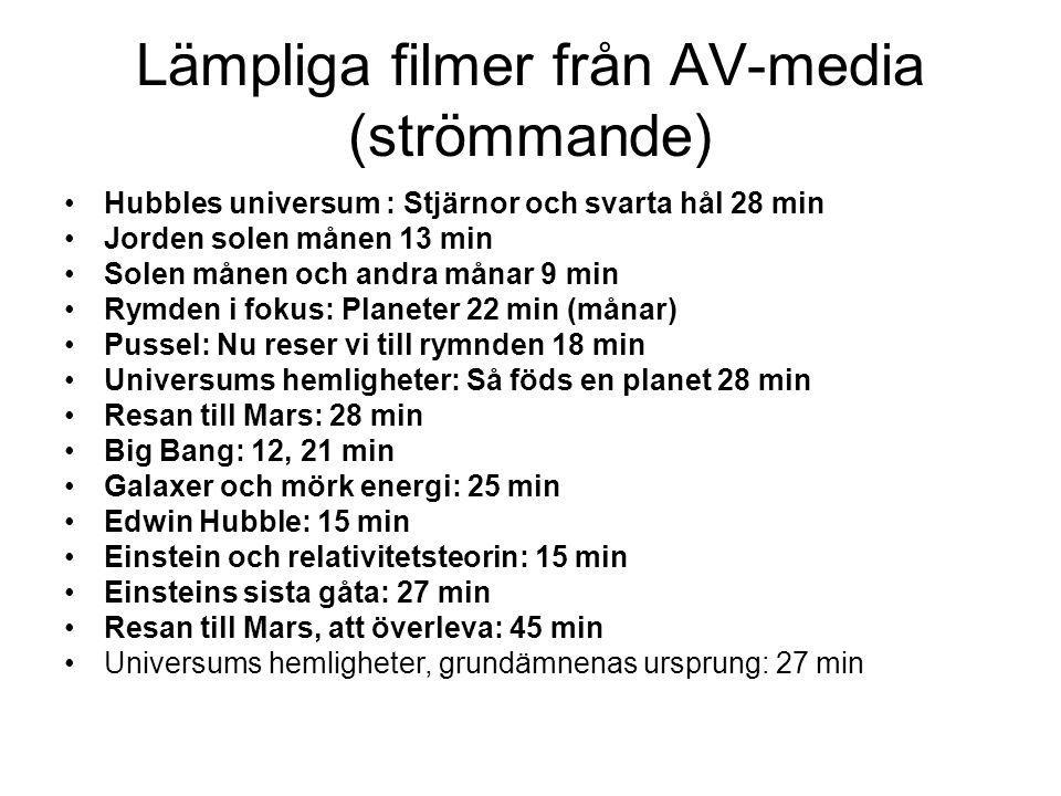 Lämpliga filmer från AV-media (strömmande)