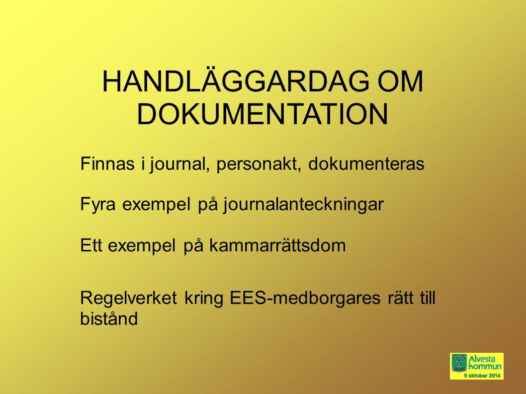 HANDLÄGGARDAG OM DOKUMENTATION