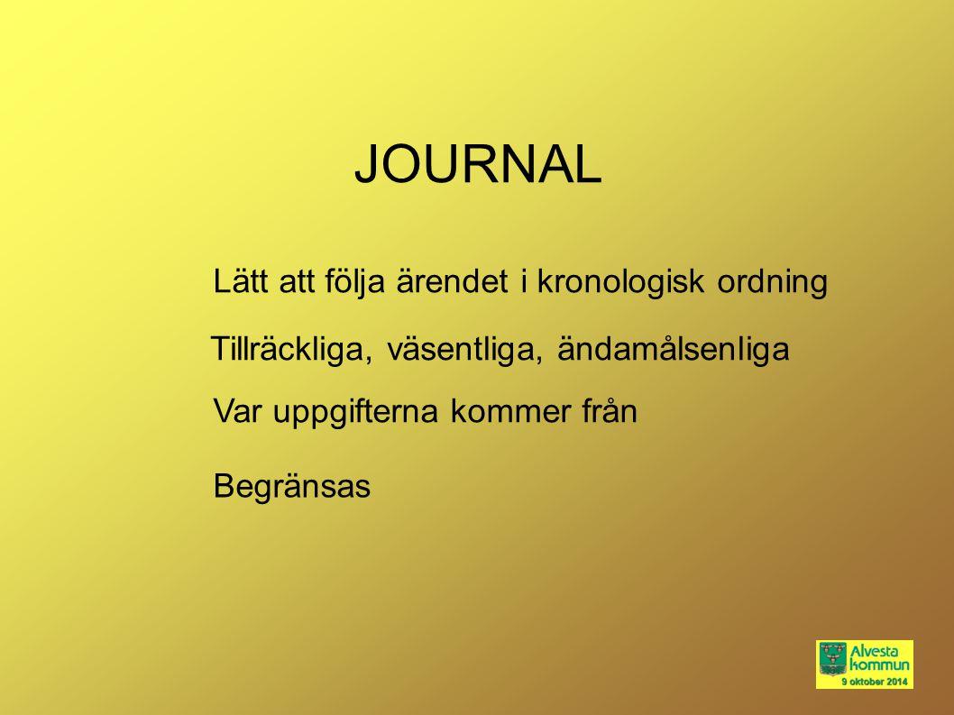 JOURNAL Lätt att följa ärendet i kronologisk ordning