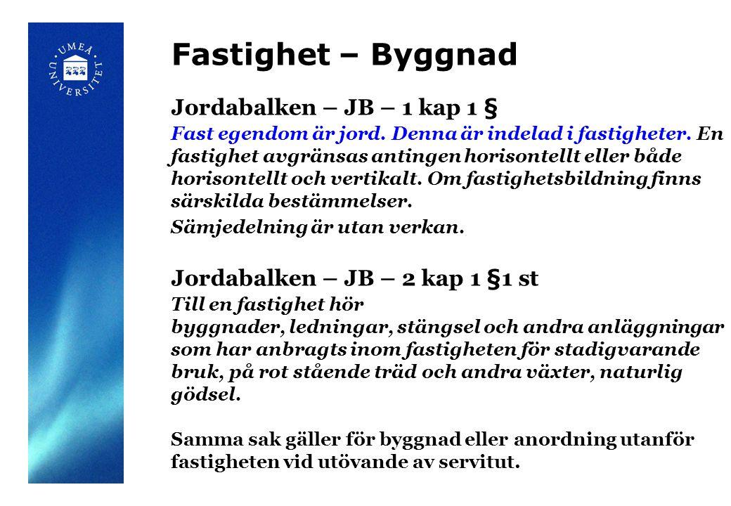 Fastighet – Byggnad Jordabalken – JB – 1 kap 1 §