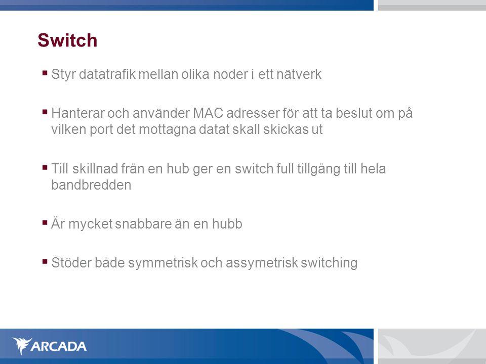 Switch Styr datatrafik mellan olika noder i ett nätverk