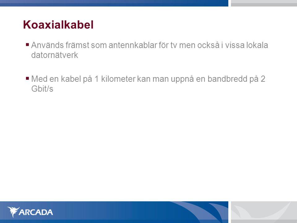 Koaxialkabel Används främst som antennkablar för tv men också i vissa lokala datornätverk.