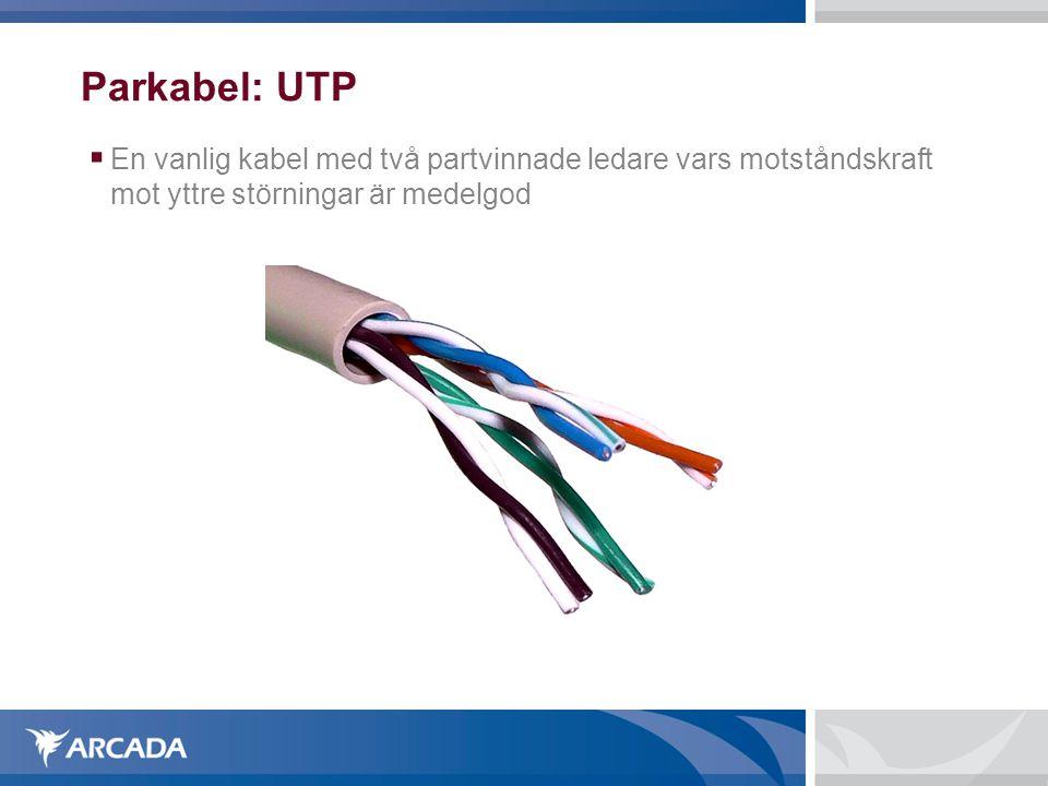 Parkabel: UTP En vanlig kabel med två partvinnade ledare vars motståndskraft mot yttre störningar är medelgod.