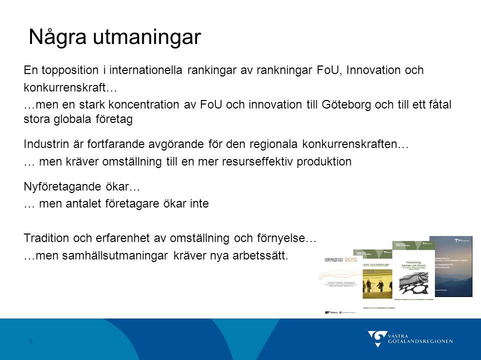 Några utmaningar En topposition i internationella rankingar av rankningar FoU, Innovation och. konkurrenskraft…