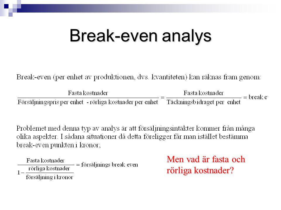 Break-even analys Men vad är fasta och rörliga kostnader