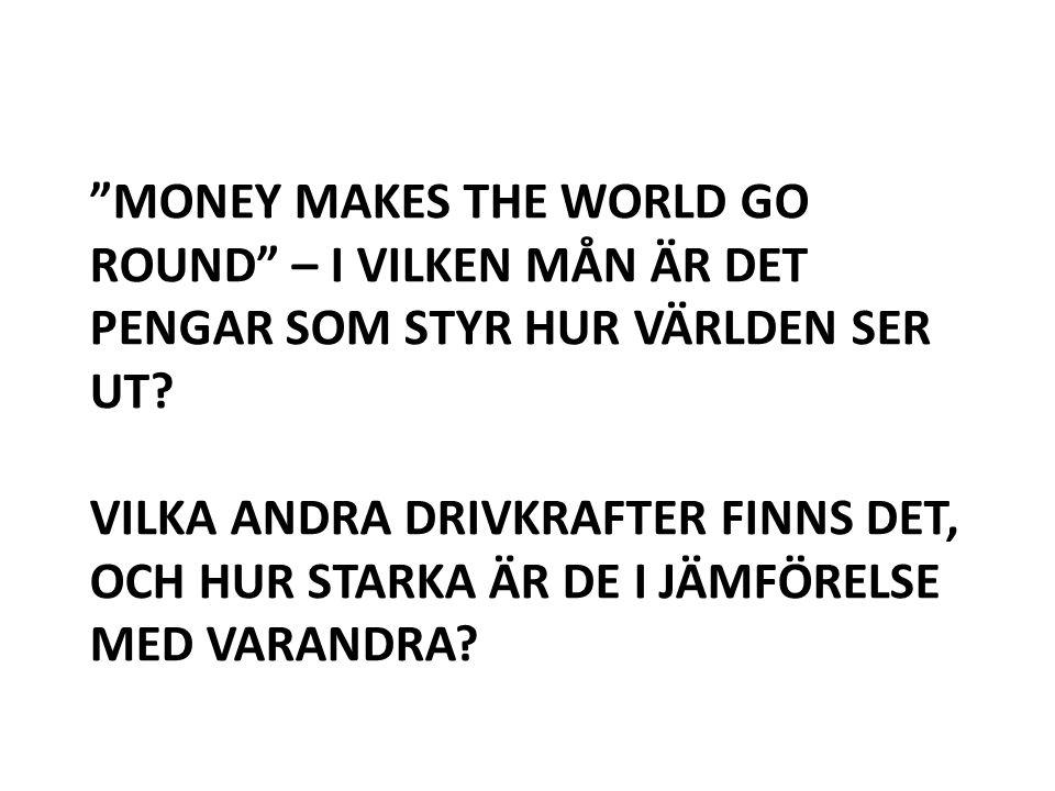 Money makes the world go round – I vilken mån är det pengar som styr hur världen ser ut.